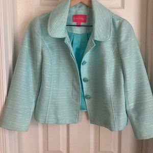 Lilly Pulitzer Blue Woven Jacket, Size 4